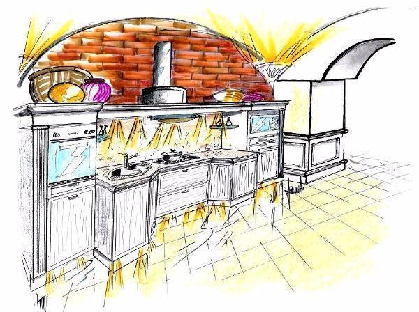 Disegno per cucina su parete con arco