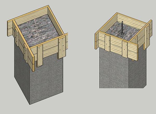 Pilastri di attesa predisposti per creare il basamento del tavolo