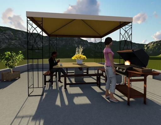 Visione d'insieme terrazzo sistemato con tavolo