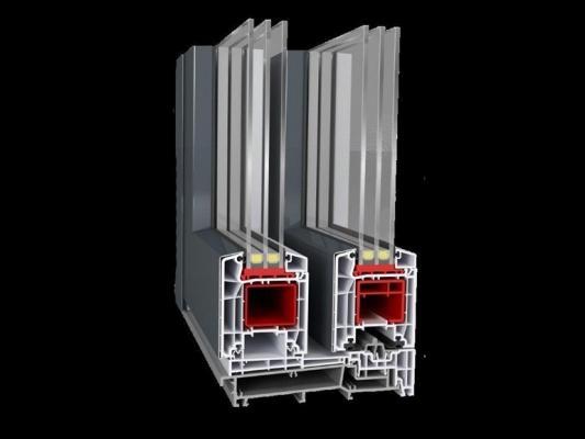 Porta finestra scorrevole in PVC modello HS87 di Haas Hoco Italia