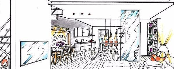 Soluzione progettuale per cucina e soggiorno open space