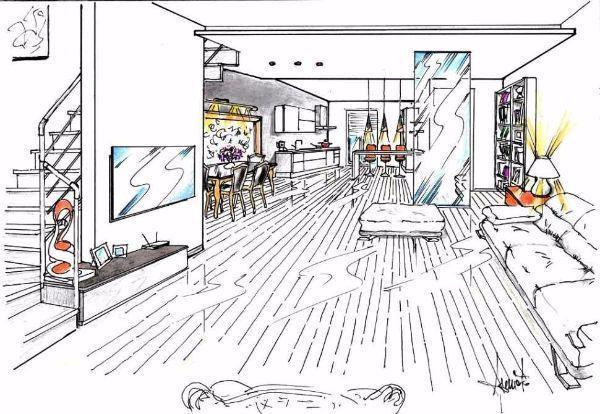 Prospettiva di soggiorno con cucina open space