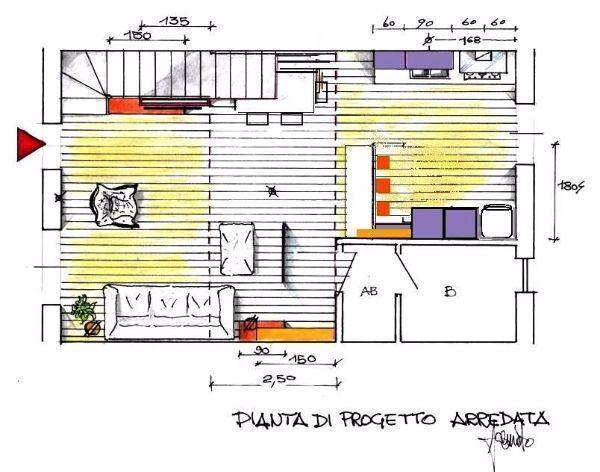 Pianta di soggiorno con cucina open space
