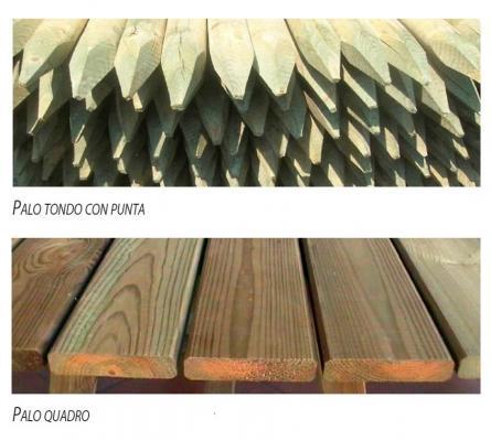 Pali di legno a punta tonda e piatta