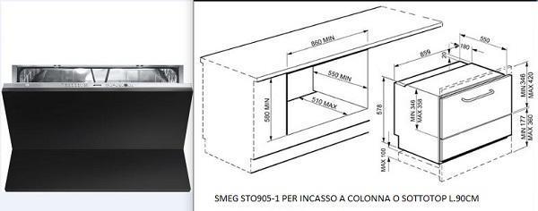 Lavastoviglie da incasso: Smeg STO905 l. 90 cm per installazione sottotop o a colonna