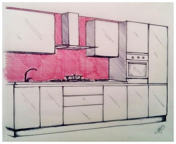Schizzo esemplificativo di schienale cucina con rivestimento in corrispondenza delle parti a vista