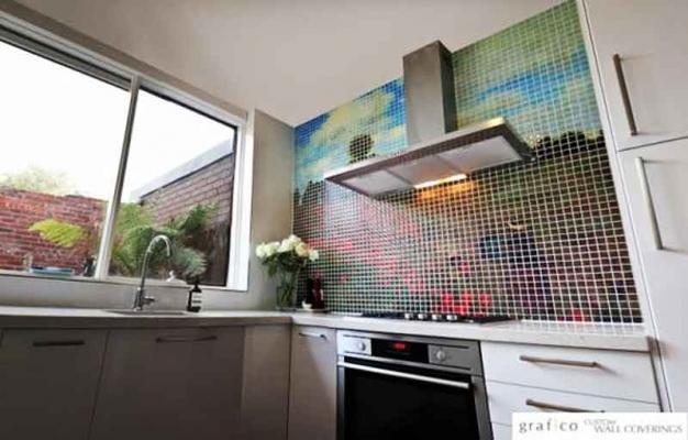 Esempio di mosaico digitale per schienale cucina - Immagine di graficowallcoverings.com.au