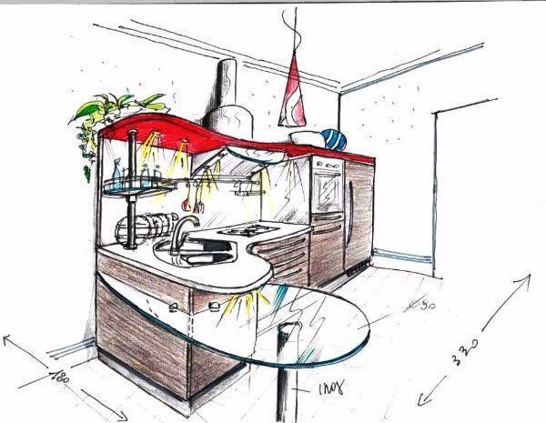 Disegno prospettico di cucina con penisola curva a forma di goccia