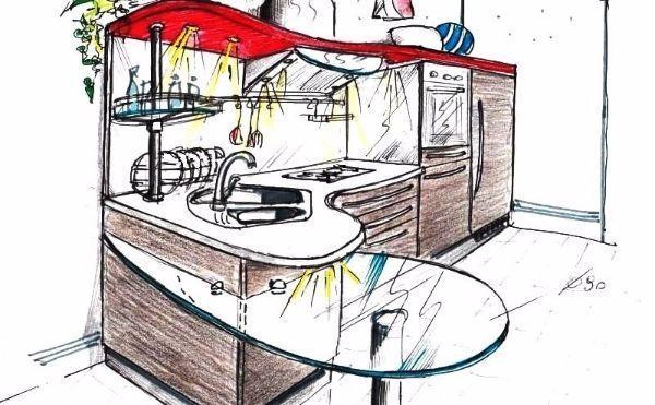 Disegno di cucina con bancone curvo a forma di goccia
