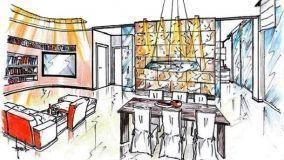 Soluzione progettuale di parete divisoria in ardesia nel salone