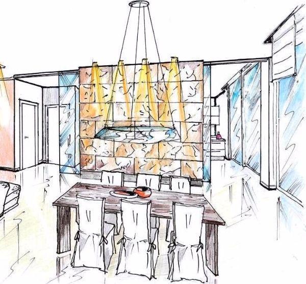 Disegno di interparete in ardesia tra zona pranzo e cucina