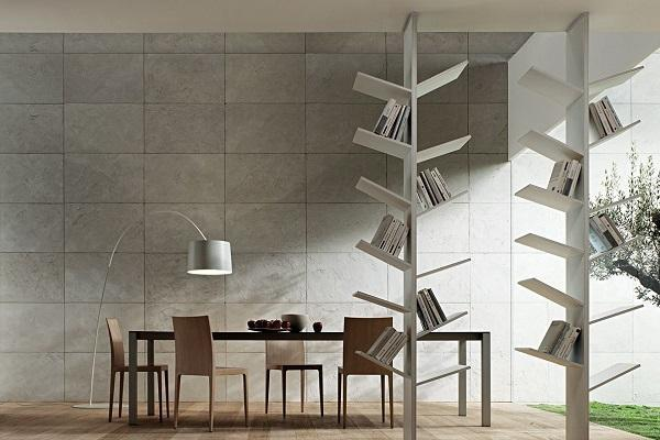 Librerie bianche moderne top divisorie with librerie for Librerie a muro moderne