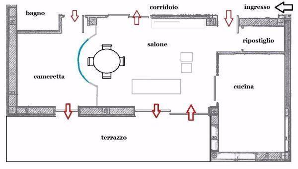 Divisorio curvo in vetrocemento tra salone e cameretta
