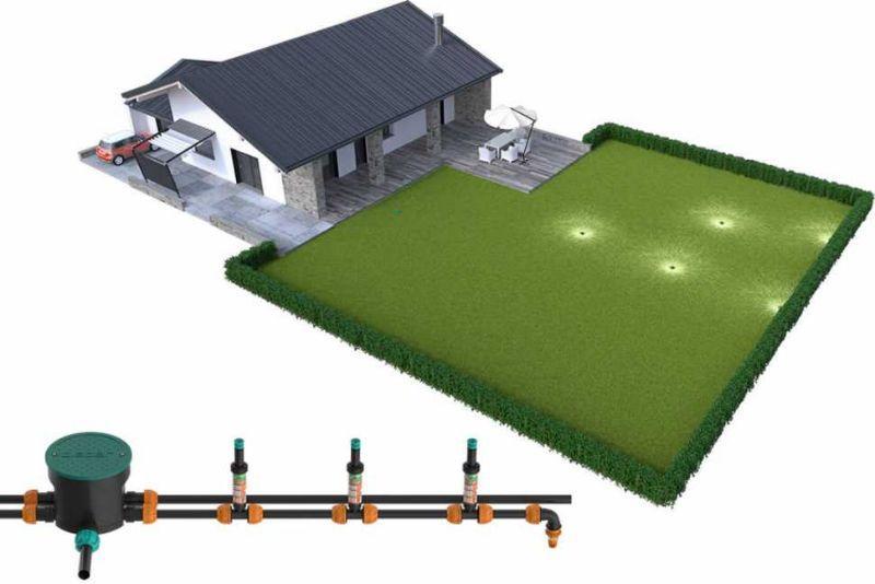 Irrigazione interrata in giardino