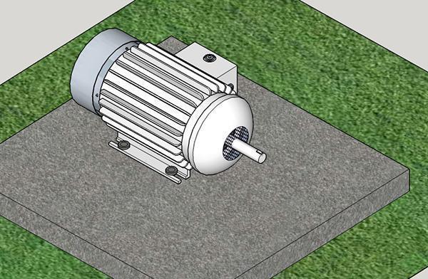 Motore ancorato a basamento in calcestruzzo