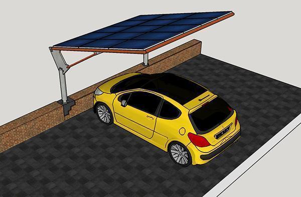 Pensilina fotovoltaica e ancoraggio a muro perimetrale