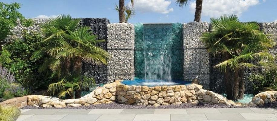 Gabbione decorativo Stonebox con cascata d'acqua