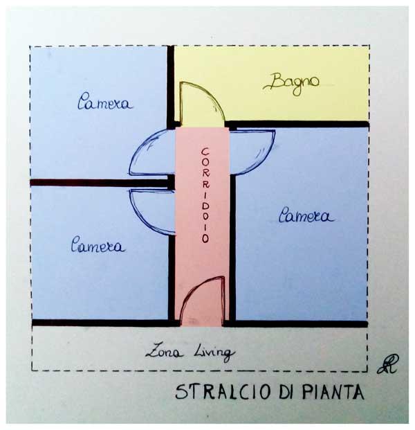 Esempio di pianta con individuazione di corridoio