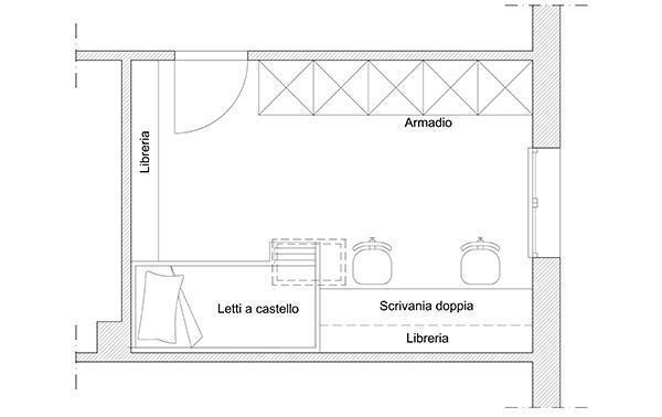 In mansarda una cameretta per due: soluzione progettuale