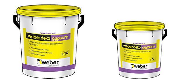 Weber.deko gypsum in confezione da 14 e 5 litri