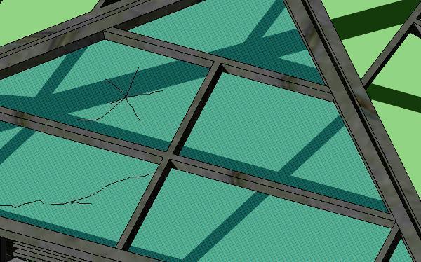 Lucernario in vetro retinato danneggiato