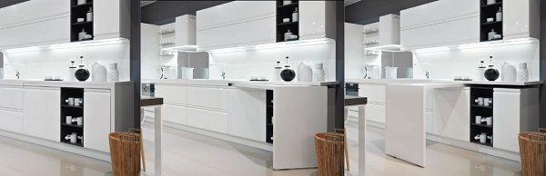 Arredare una cucina: Dibiesse, tavolo girevole sottopiano