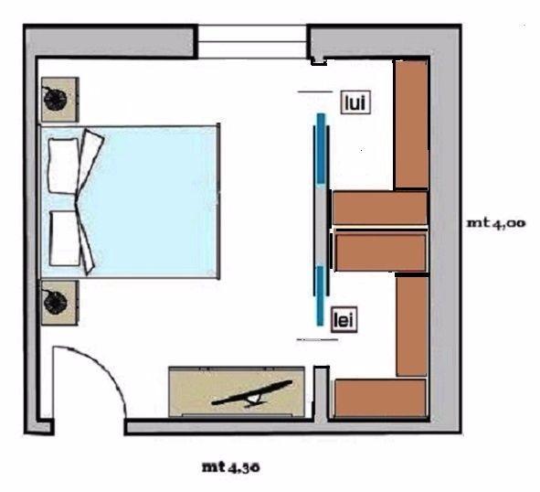 Cabina armadio doppia come progettarla - Planimetria camera da letto ...