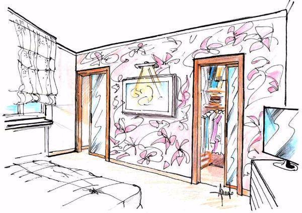Disegno di cabina armadio doppia con vetrate scorrevoli