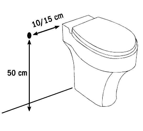 Distanze utili tra lo scopino idraulico e il wc - Grafico by BOSSINI