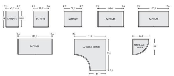 Moduli componibili per gli armadi angolari curvi di Napol Arredamenti S.p.A