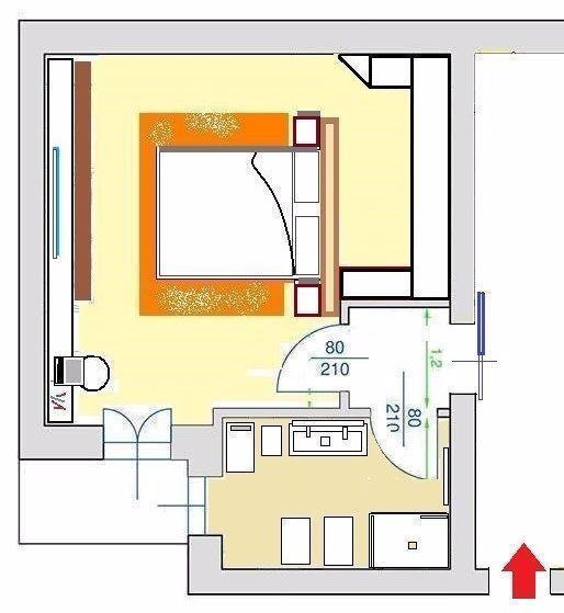 Pianta di progetto per camera con armadio retro letto