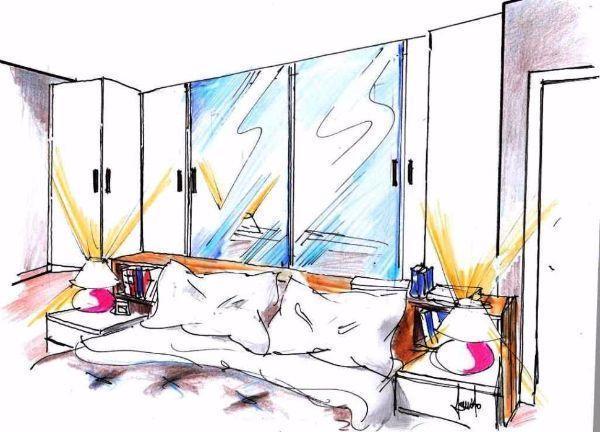 Disegno di camera con armadio in zona retro letto