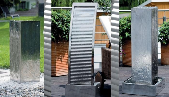 Fontane della serie Living Steel di Atmos Italia.