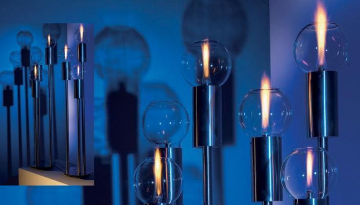 Lampade da giardino della serie Living Steel di Atmos Italia.