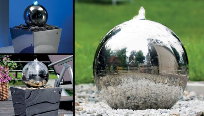 Fontana sferica della serie Living Steel di Atmos Italia.