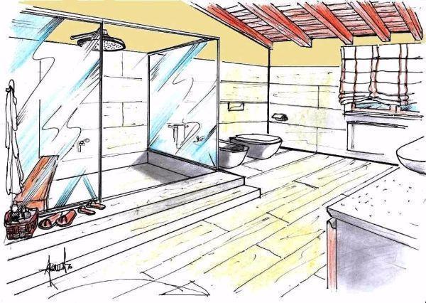 bagno Doccia disegno : Entro il volume di questa vasca-doccia ? distinguibile una panca in ...