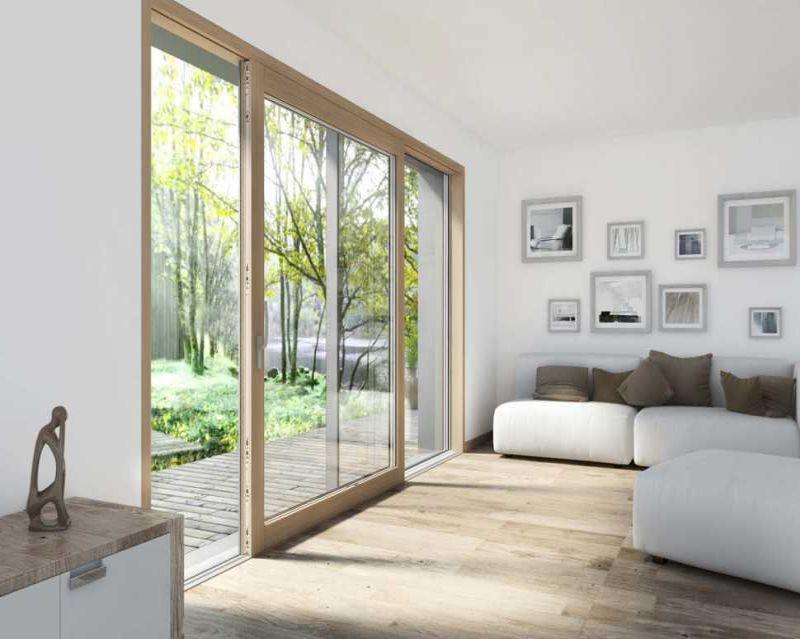 Infissi legno alluminio: porta scorrevole