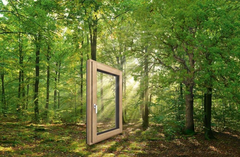 Finestra in legno-alluminio con tecnologia i-tec core del nucleo di Internorm - hf410