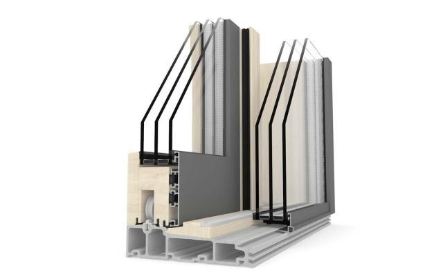 Porta alzante scorrevole in legno-alluminio - particolare dell'angolare