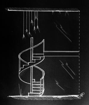 Progetto esemplificativo di sistema di luci per scala a chiocciola