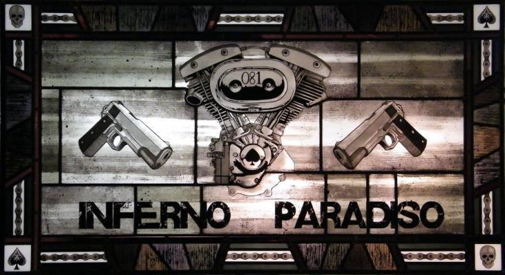 Vetrata artistica con allegoria dell'inferno e paradiso, by IKO Studio.