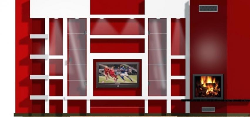 Mensola in cartongesso su sfondo rosso di Next Design Group