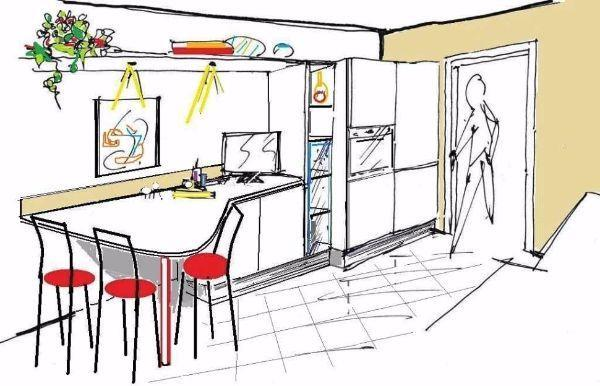 Vista prospettica di cucina stretta con piano snack curvo