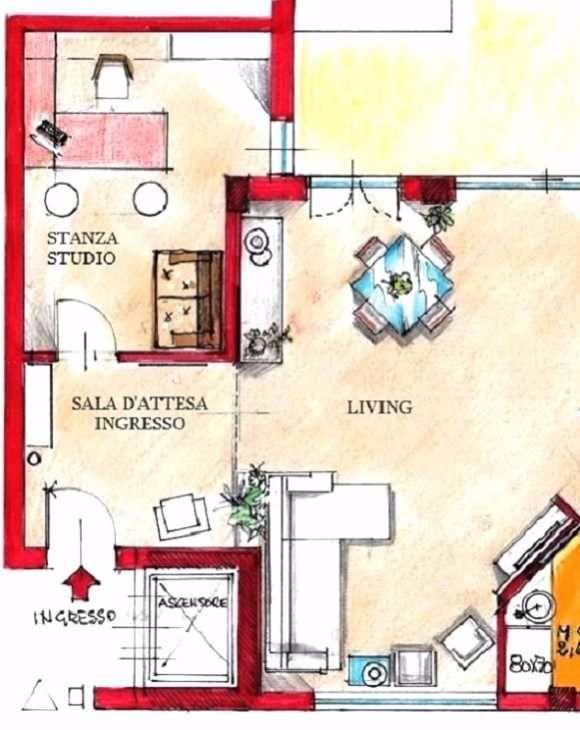 Stanza studio con ingresso-sala d'attesa: pianta di progetto