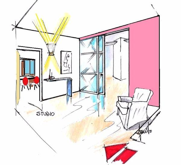 Prospettiva di stanza studio, intravista dalla sala d'attesa-ingresso
