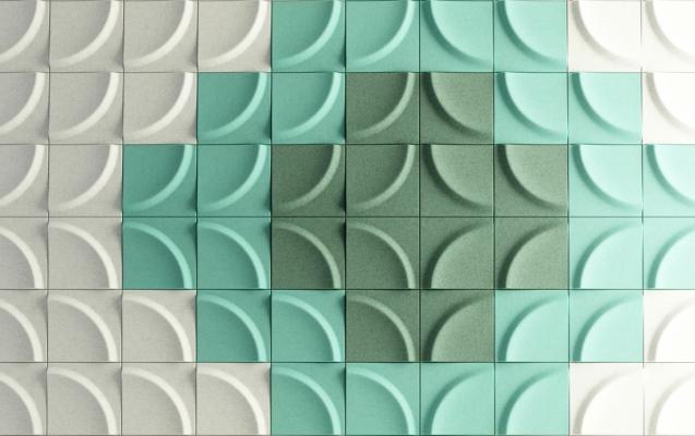 Pannelli acustici linea Gaia tipo di posa colorata di Stone Designs
