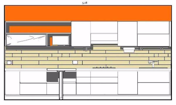 Schema d'arredo a parete per la cucina a pianta rettangolare