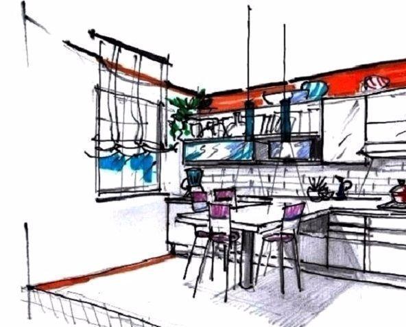 Zona pranzo a penisola nella cucina rettangolare