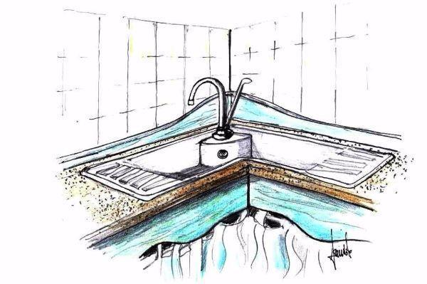 Lavello angolare in pietra incassato nel top della cucina