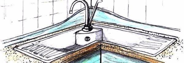 Lavello in pietra nella composizione cucina